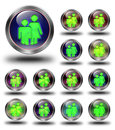 Group glossy icon button crazy colors glossy metallic buttons Royalty Free Stock Photos