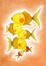 Group of gold fish child s drawing watercolor painting on canvas paper Royalty Free Stock Images