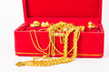 Group of gold necklace and gold ring of accessories. Royalty Free Stock Photo