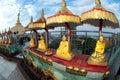 Group of golden Buddhas at Kyaikhtiyo Pagoda.