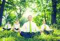 Group of green business people meditating Royalty Free Stock Images