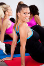Group of gym people in an aerobics class Royalty Free Stock Photo