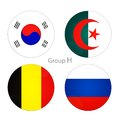 Group h south korea algeria belgium russia at world cup Royalty Free Stock Images