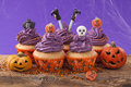 Group of halloween cupcake and decoration Royalty Free Stock Photography