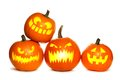 Group of Halloween Jack o Lanterns isolated on white Royalty Free Stock Photo