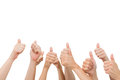 Group of hands giving thumbs up on white background Royalty Free Stock Image