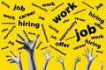 group hands trying to reach job offers over a yellow background - looking for work - job opportunity Royalty Free Stock Photo