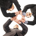 Group handshake between three young persons Stock Photo