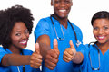 Group happy african american medical team thumbs up Royalty Free Stock Photo