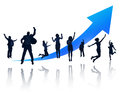 Group of happy business people jumping silhouettes for celebration Stock Photo