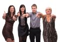 Group of happy business people showing sign of success Royalty Free Stock Photo