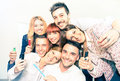 Group of happy business people taking selfie at office Royalty Free Stock Photo