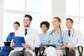 Group of happy doctors on seminar at hospital Royalty Free Stock Photo