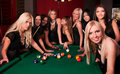 image photo : Group of happy girls playing in billiard