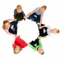 Group of happy kids looking up in unity Royalty Free Stock Image
