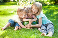 Group happy kids watermelon playing green grass summer park Royalty Free Stock Photo
