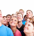Group of happy modern people looking at copyspace Stock Photos