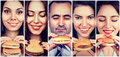 Group of happy people eating cheeseburgers Royalty Free Stock Photo