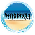 Group of happy people jumping at the seaside silhouettes Royalty Free Stock Photos