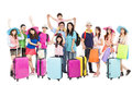 Group of happy people are ready to travel together isolated on white background Stock Photos