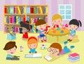 Group of happy school kids in classroom,children`s activity in the kindergarten, reading books, playing, education,Vector