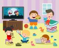 Group of happy school kids in classroom,children`s activity in the kindergarten, reading books, playing, education,Vector Royalty Free Stock Photo