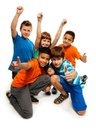 Group happy smiling kids standing together playing boys girls black caucasian Stock Images