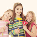 Group of happy smiling little girls Royalty Free Stock Photo