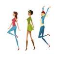 Group happy woman fashion slim