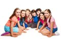 Group happy years old boys girls sitting together semi circle Royalty Free Stock Image