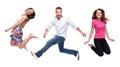 Grupo de feliz joven salto