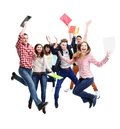 Group of happy young people jumping Stock Images