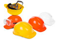 Group hard hats small natural shadow under objects Stock Images