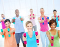 Group of healthy people in the fitness Royalty Free Stock Photo
