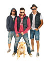 Group of hip hop guys with pitbull dog three isolated on white background Royalty Free Stock Images