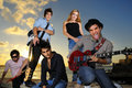 Group of hispanic young musicians posing Royalty Free Stock Image