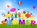 Group holding colorful speech bubbles of mixed age in a summer concept photo Royalty Free Stock Photography
