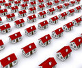 Group of houses with red roof Stock Photos