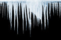 Group of icicles on black background hanging Stock Photos