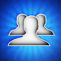 Group icon on a blue leather background hi res digitally generated image Royalty Free Stock Photo