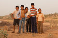 Group of Indian boys near Karauli in India Royalty Free Stock Photo