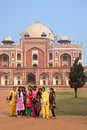 Group of indian girls standing infront of humayun s tomb delhi india it was the first garden on the subcontinent Stock Image