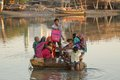 Group of indian people travelling in a boat happy crossing the river an old gujarat bhuj india Royalty Free Stock Image