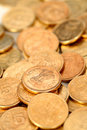 Group of Indian rupee gold coins Stock Photos