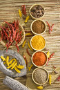 Group of indian spices with mortar and pestle Royalty Free Stock Photography
