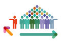 Group or individual decision graphic of a crowd deciding to go in one direction and an going in another Royalty Free Stock Image