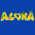 Group of islands creating the aloha word. Aloha hand lettering with exotic islands.