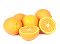 Group of isolated orange in white background Royalty Free Stock Photo