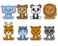 Group of 8 kawaii animals Royalty Free Stock Photo