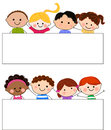 Group of kids and banner cartoon Stock Images